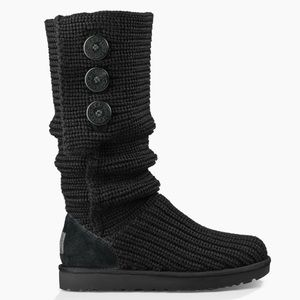 UGG Black Tall Cable Knit Boots Size 9